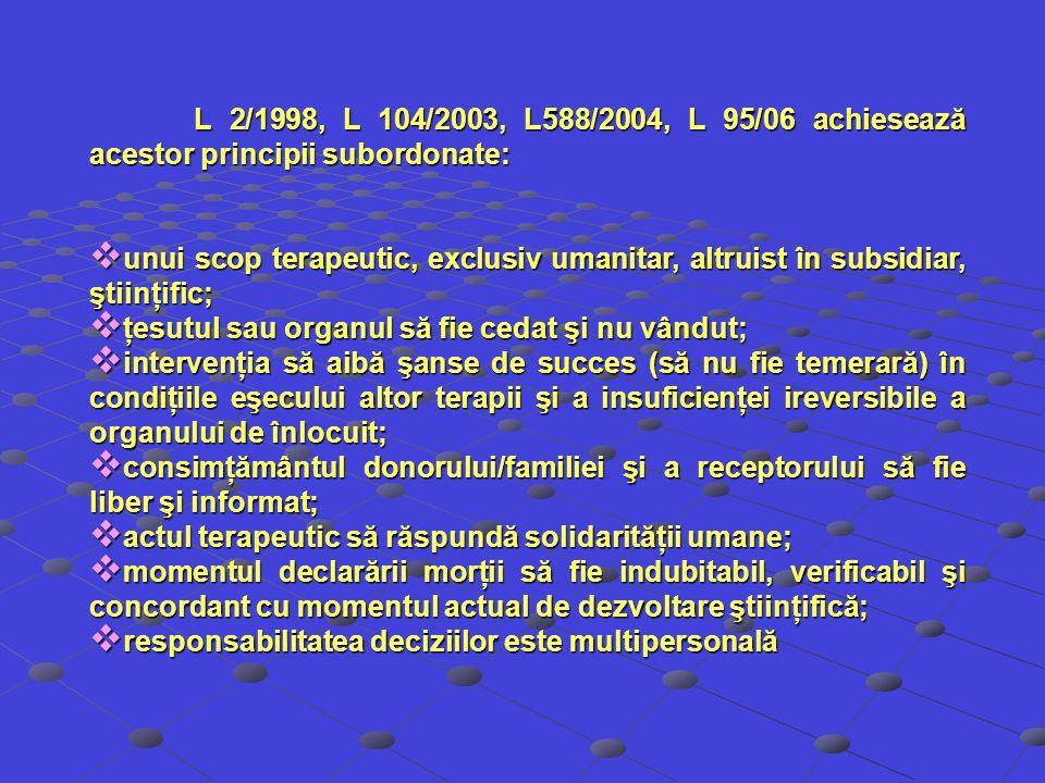 L 2/1998, L 104/2003, L588/2004, L 95/06 achiesează acestor principii subordonate: