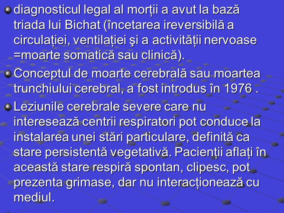 diagnosticul legal al morţii a avut la bază triada lui Bichat (încetarea ireversibilă a circulaţiei, ventilaţiei şi a activităţii nervoase =moarte somatică sau clinică).