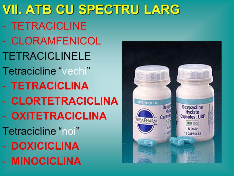 VII. ATB CU SPECTRU LARG TETRACICLINE CLORAMFENICOL TETRACICLINELE