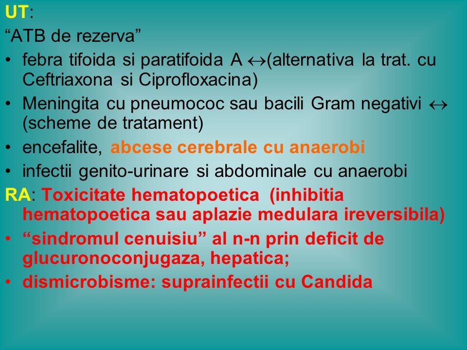 UT: ATB de rezerva febra tifoida si paratifoida A (alternativa la trat. cu Ceftriaxona si Ciprofloxacina)