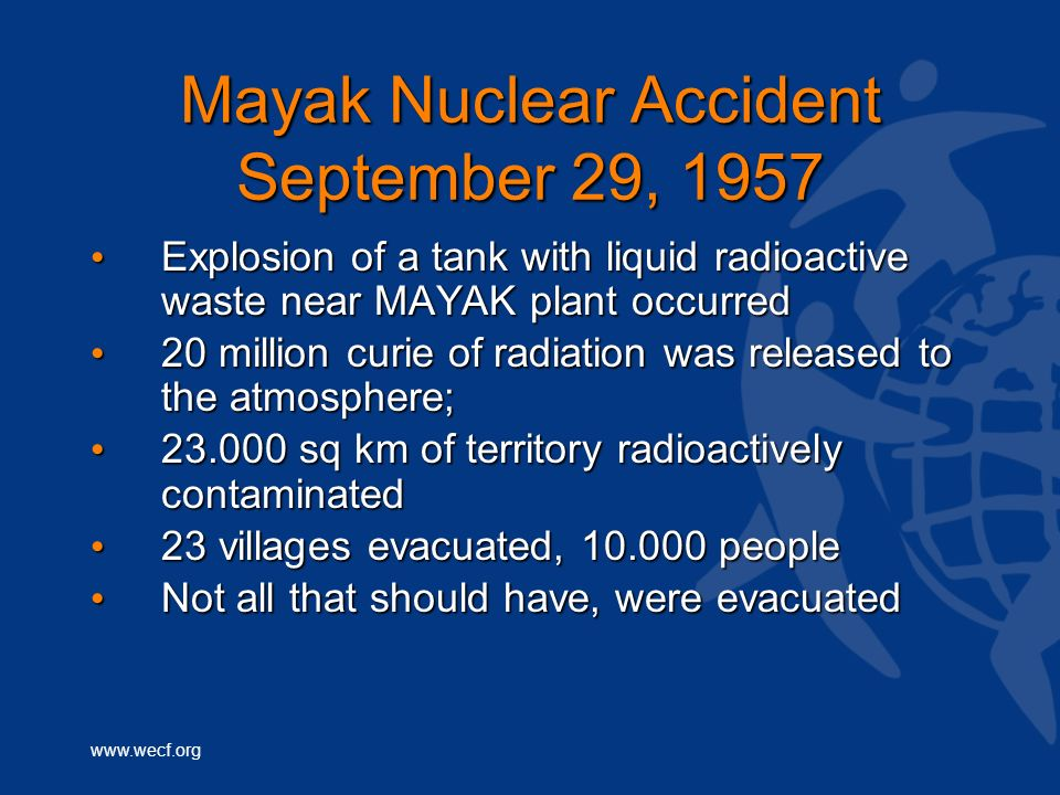 Mayak Nuclear Accident September 29, 1957