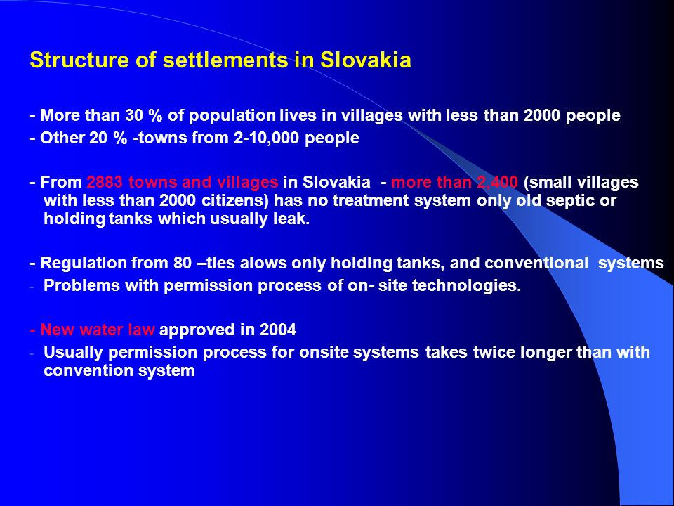 Structure of settlements in Slovakia