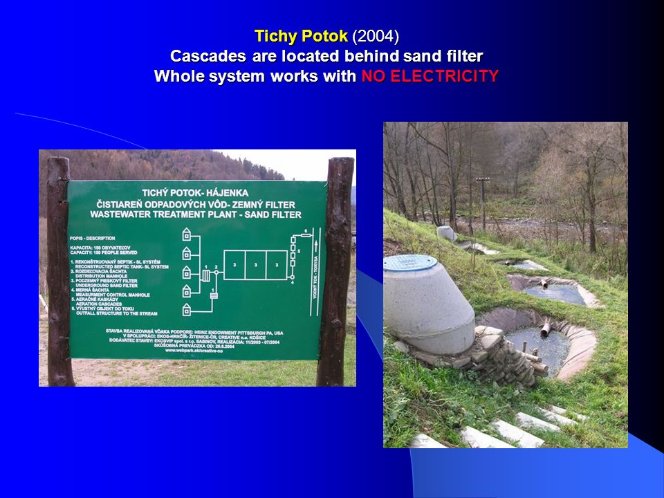 Tichy Potok (2004) Cascades are located behind sand filter Whole system works with NO ELECTRICITY