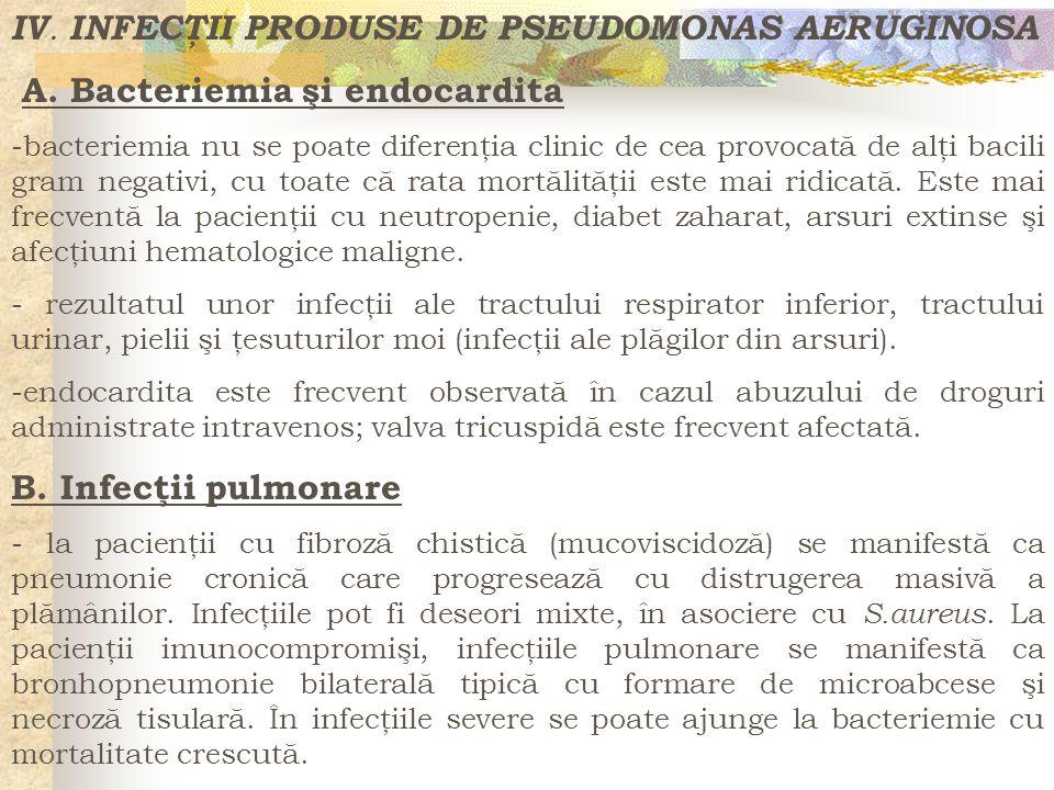 IV. INFECŢII PRODUSE DE PSEUDOMONAS AERUGINOSA