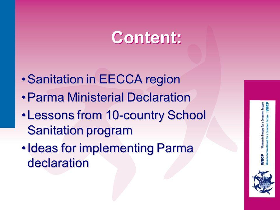 Content: Sanitation in EECCA region Parma Ministerial Declaration