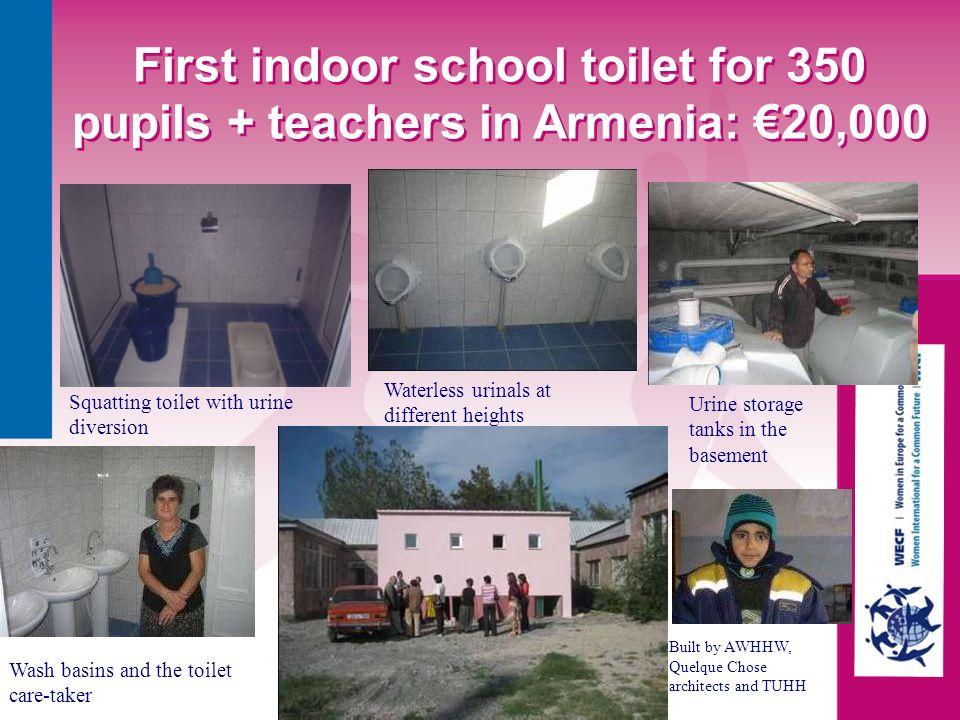 First indoor school toilet for 350 pupils + teachers in Armenia: €20,000