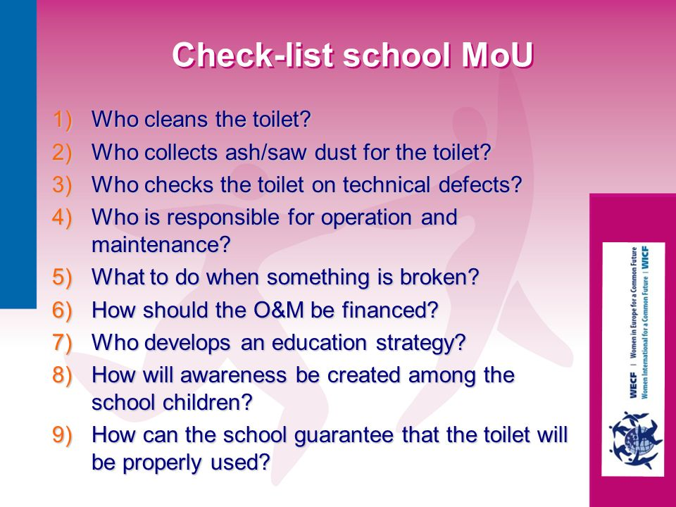 Check-list school MoU Who cleans the toilet