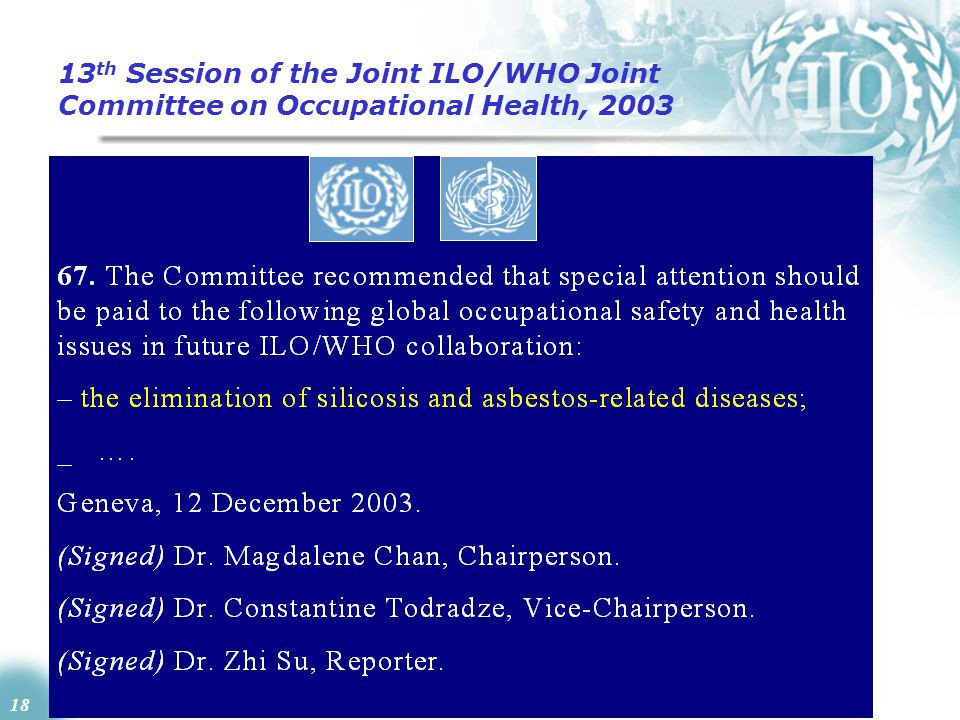13th Session of the Joint ILO/WHO Joint Committee on Occupational Health, 2003