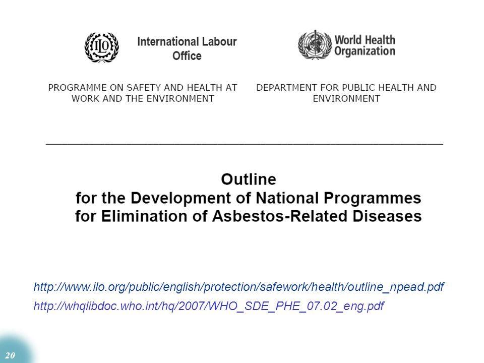 http://www.ilo.org/public/english/protection/safework/health/outline_npead.pdf http://whqlibdoc.who.int/hq/2007/WHO_SDE_PHE_07.02_eng.pdf.