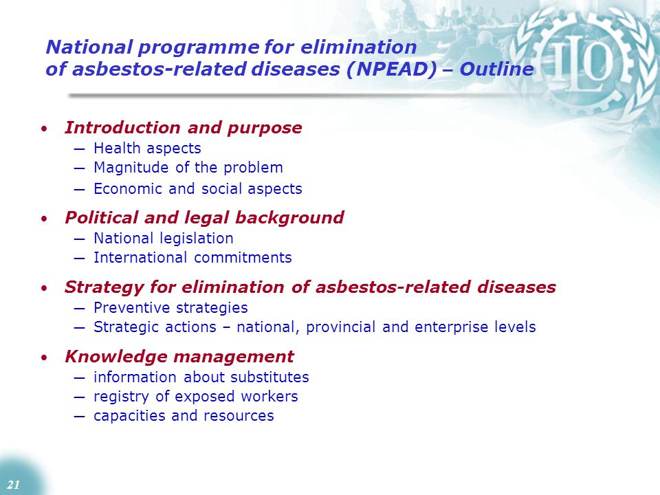 National programme for elimination of asbestos-related diseases (NPEAD) – Outline