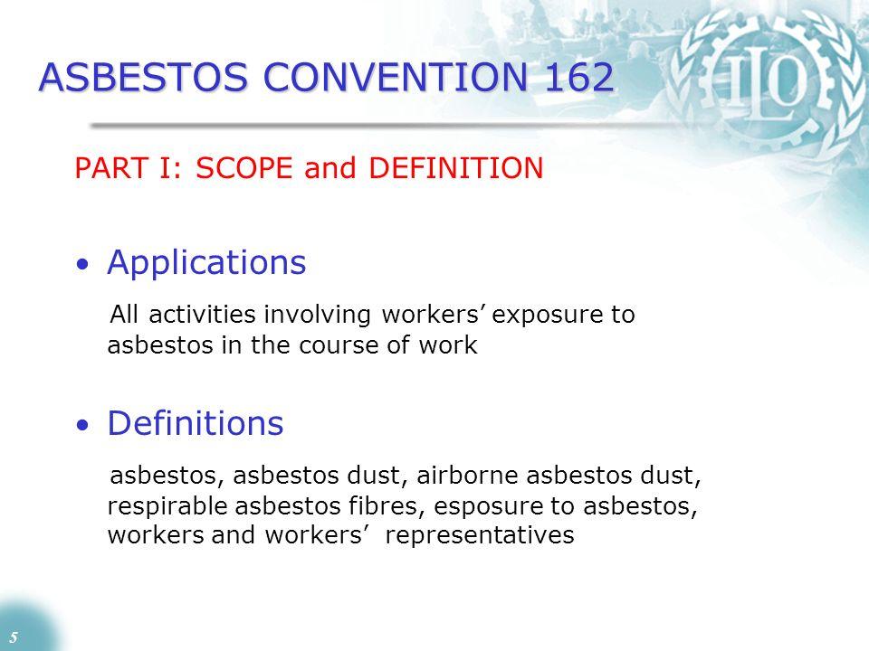 ASBESTOS CONVENTION 162 Applications