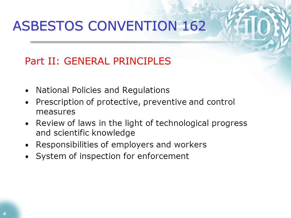 ASBESTOS CONVENTION 162 Part II: GENERAL PRINCIPLES