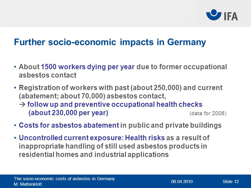 Further socio-economic impacts in Germany