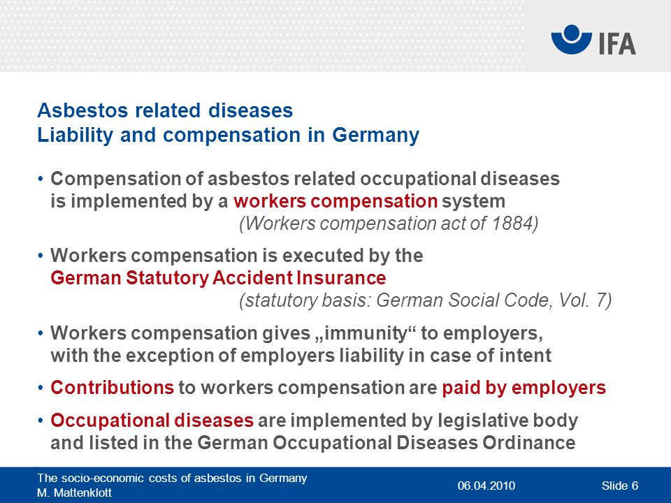 Asbestos related diseases Liability and compensation in Germany