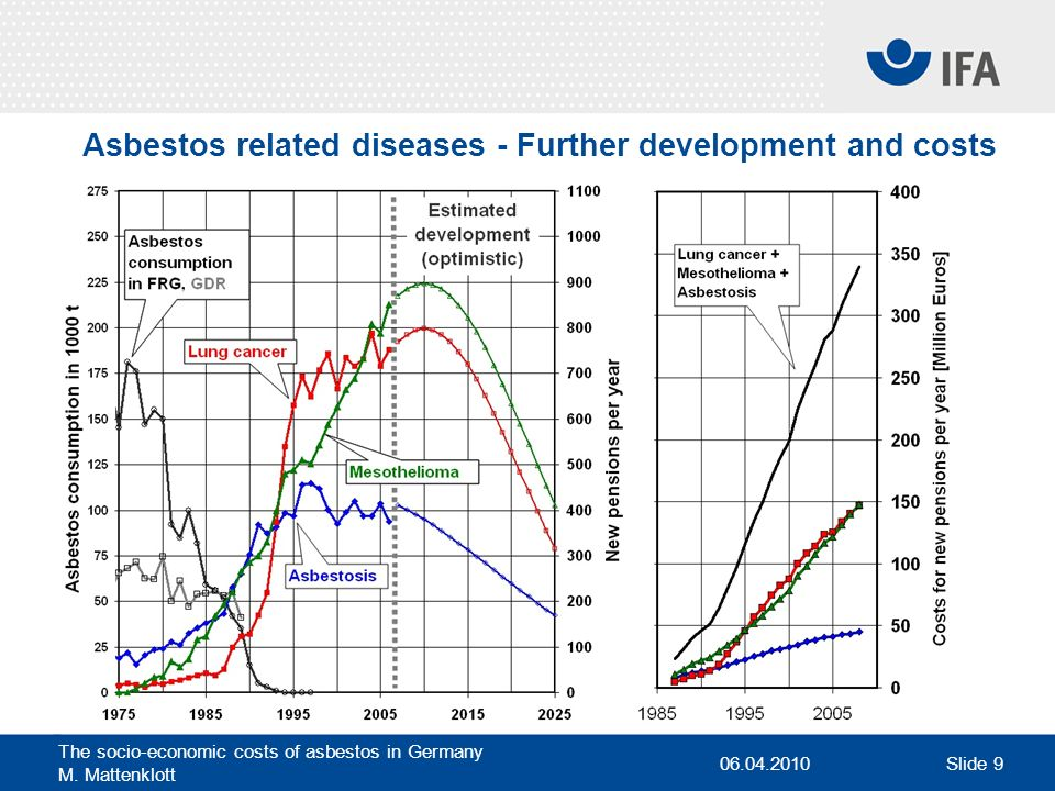 Asbestos related diseases - Further development and costs