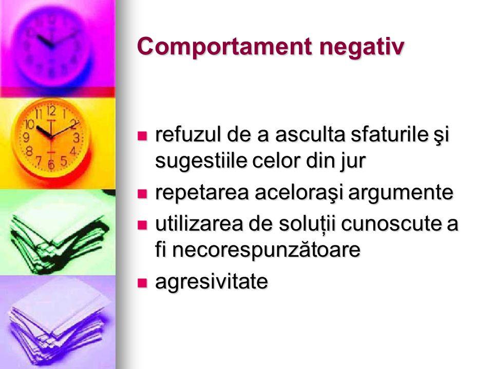 Comportament negativ refuzul de a asculta sfaturile şi sugestiile celor din jur. repetarea aceloraşi argumente.