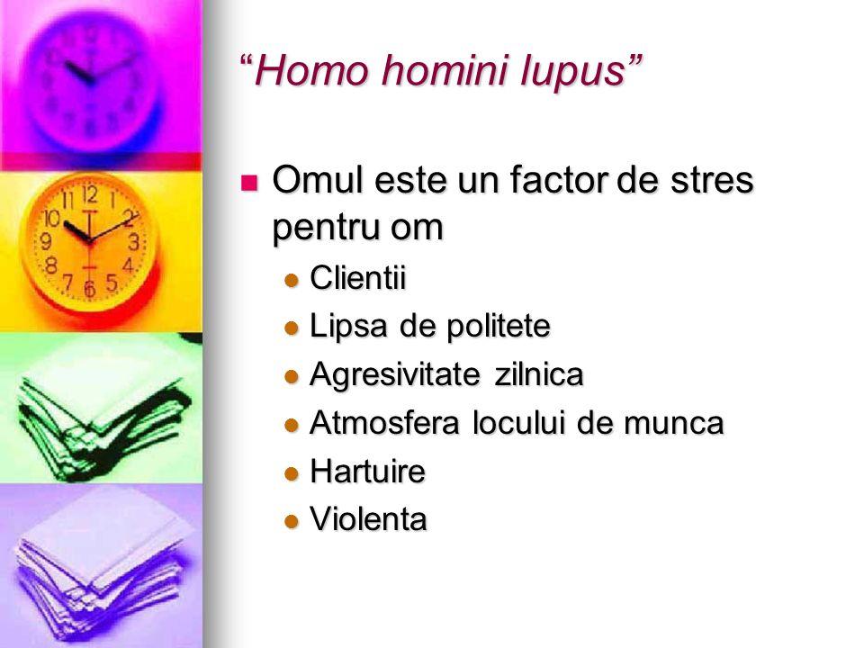 Homo homini lupus Omul este un factor de stres pentru om Clientii