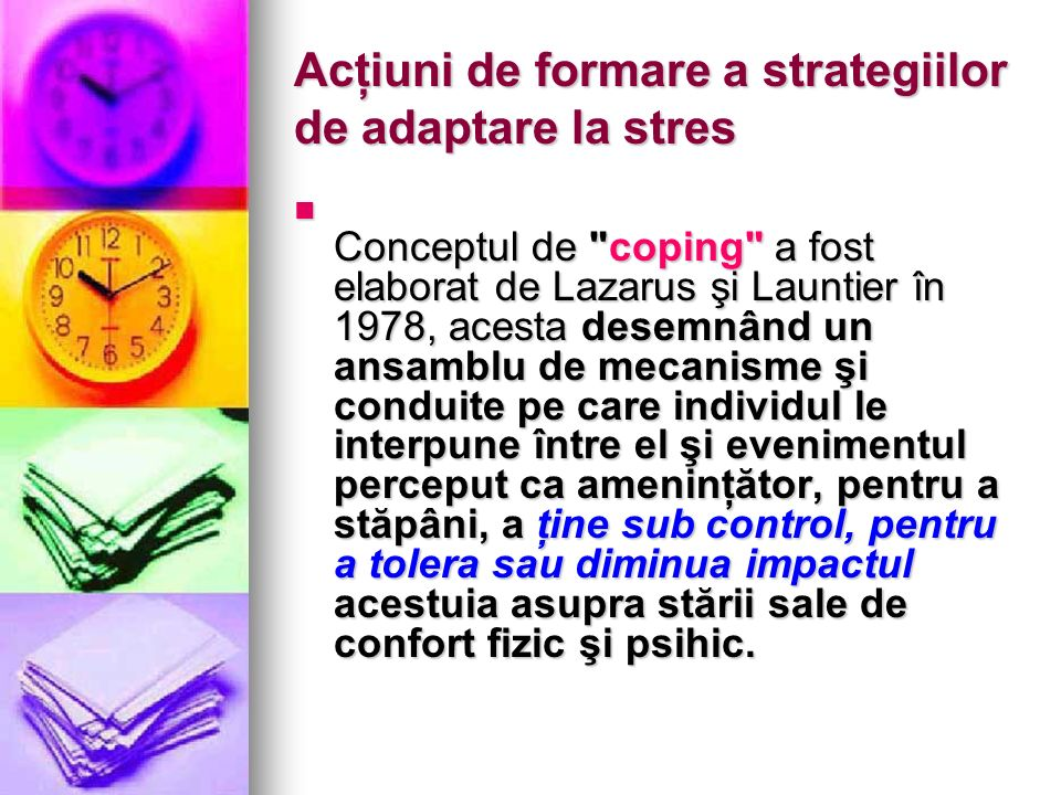 Acţiuni de formare a strategiilor de adaptare la stres