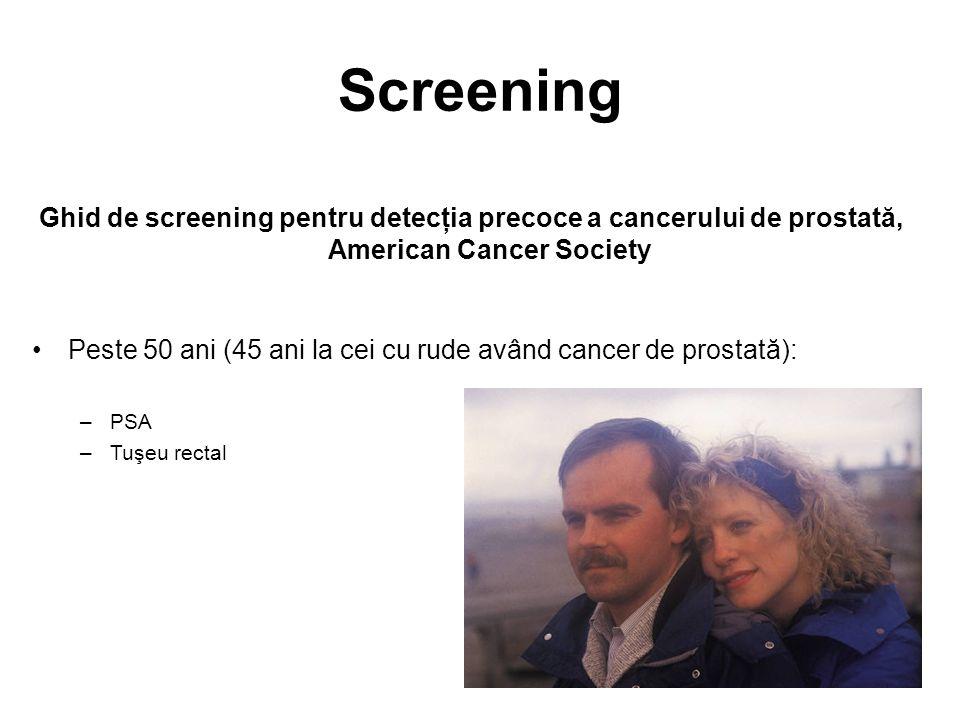 Screening Ghid de screening pentru detecţia precoce a cancerului de prostată, American Cancer Society.