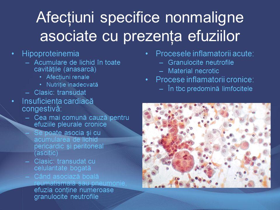 Afecţiuni specifice nonmaligne asociate cu prezenţa efuziilor
