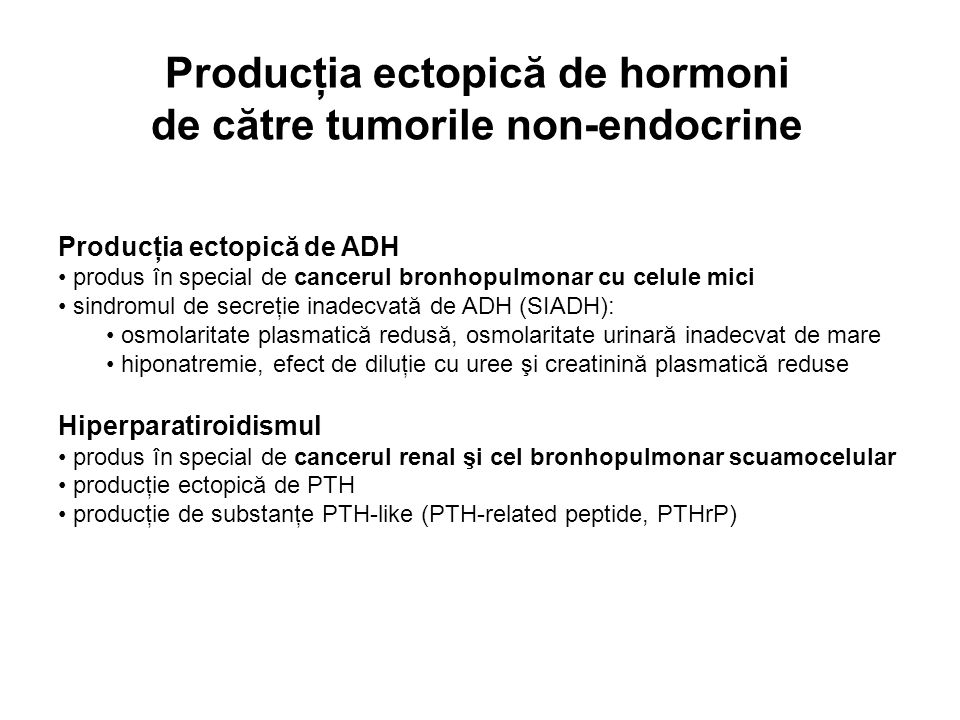 Producţia ectopică de hormoni de către tumorile non-endocrine