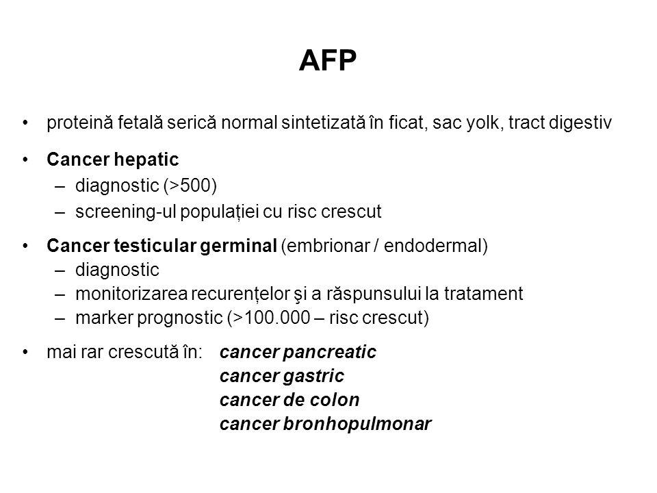 AFP proteină fetală serică normal sintetizată în ficat, sac yolk, tract digestiv. Cancer hepatic. diagnostic (>500)