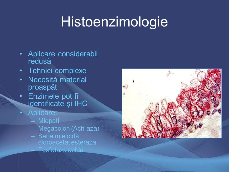 Histoenzimologie Aplicare considerabil redusă Tehnici complexe