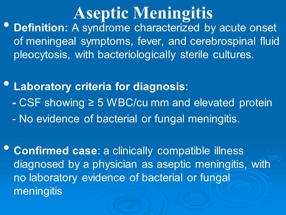 Acute sterile meningitis
