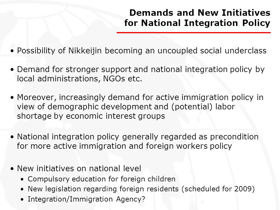 Demands and New Initiatives for National Integration Policy