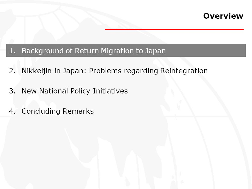 Overview Background of Return Migration to Japan
