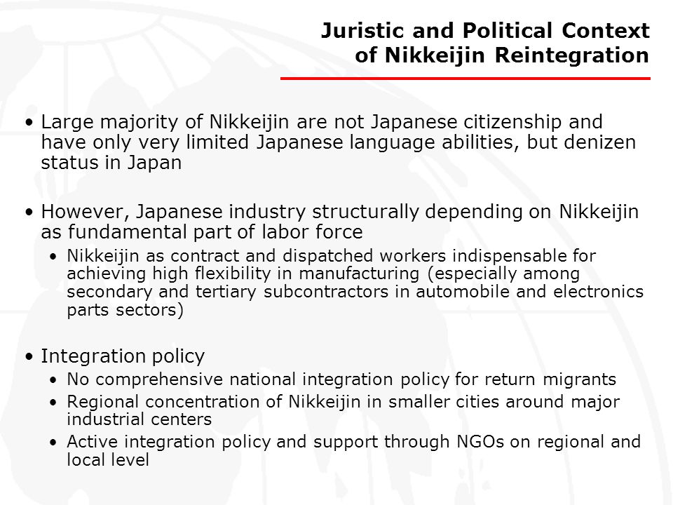Juristic and Political Context of Nikkeijin Reintegration