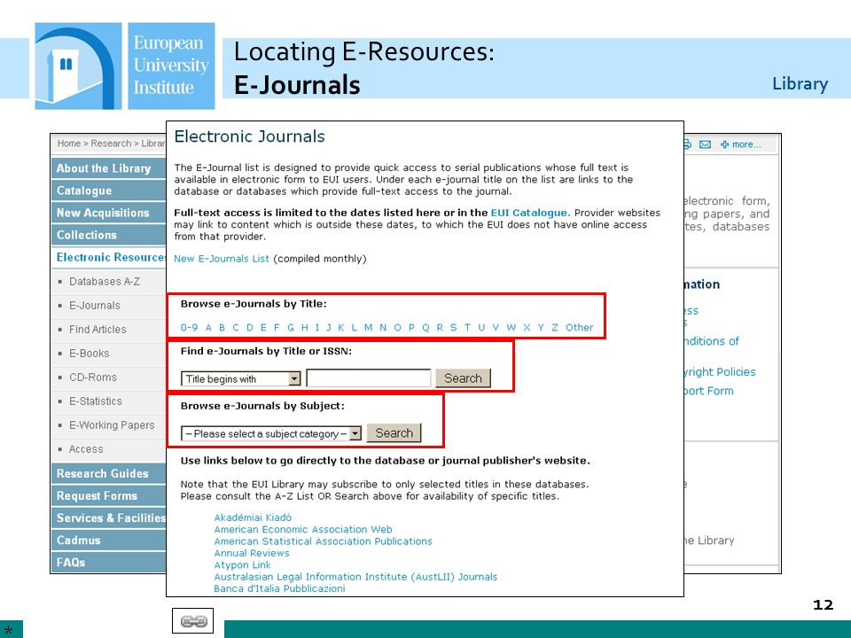 Locating E-Resources: E-Journals