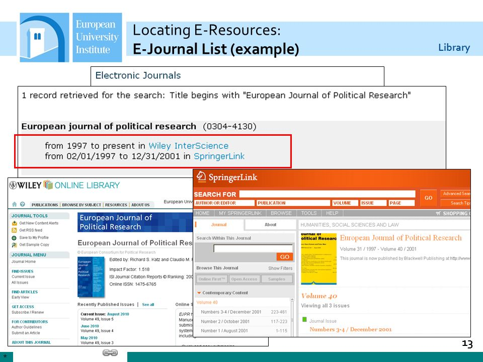 Locating E-Resources: E-Journal List (example)