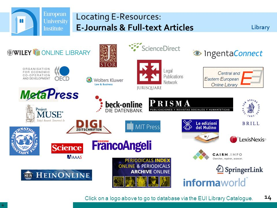 Locating E-Resources: E-Journals & Full-text Articles