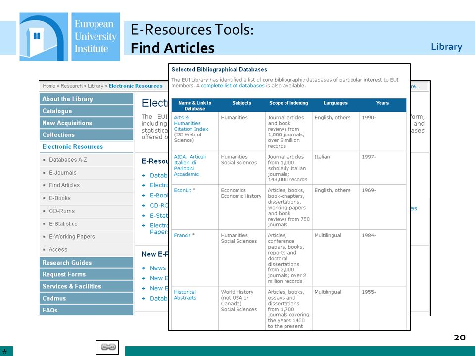 E-Resources Tools: Find Articles