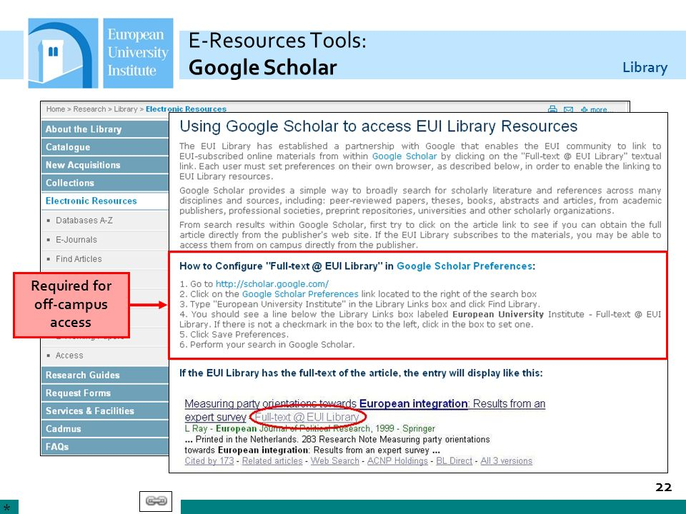 E-Resources Tools: Google Scholar