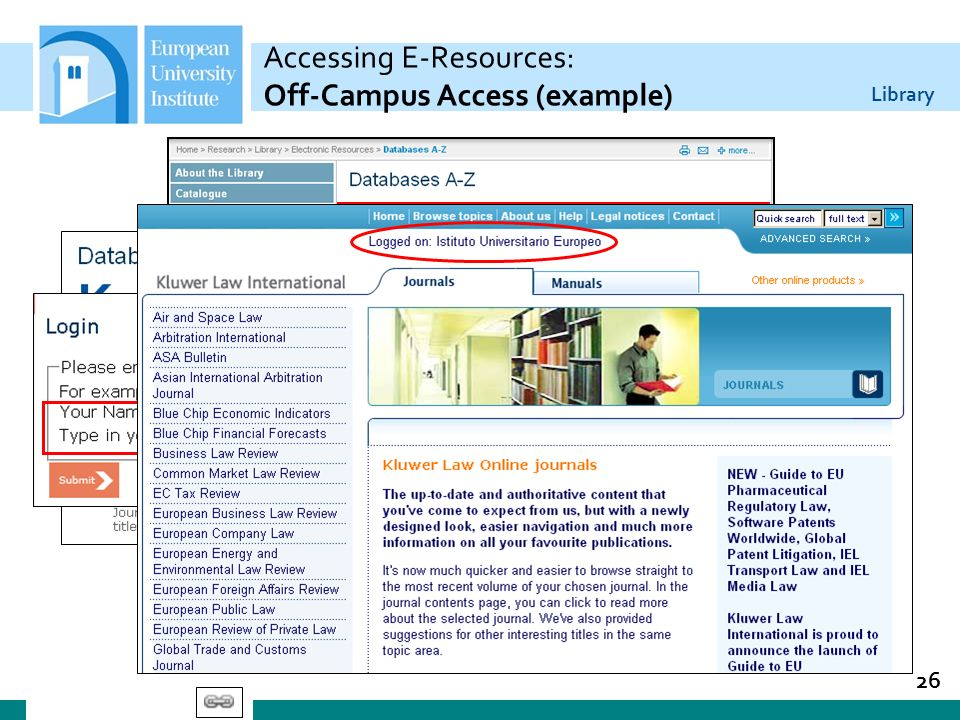 Accessing E-Resources: Off-Campus Access (example)