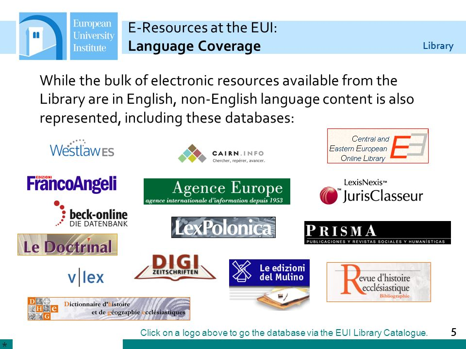E-Resources at the EUI: Language Coverage