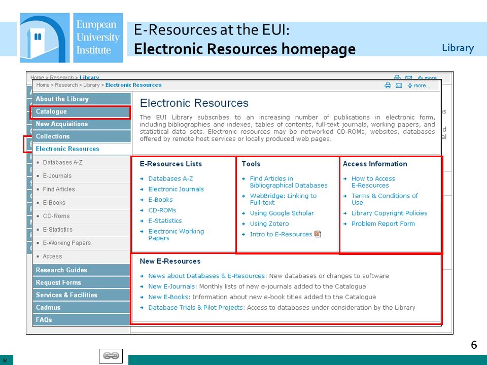 E-Resources at the EUI: Electronic Resources homepage