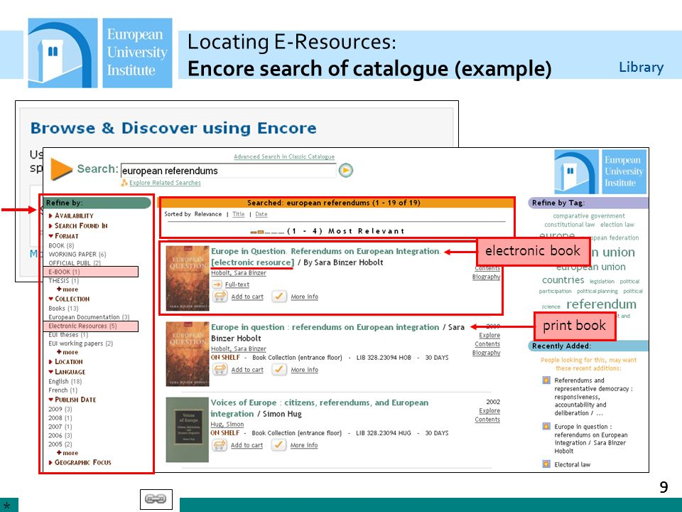 Locating E-Resources: Encore search of catalogue (example)