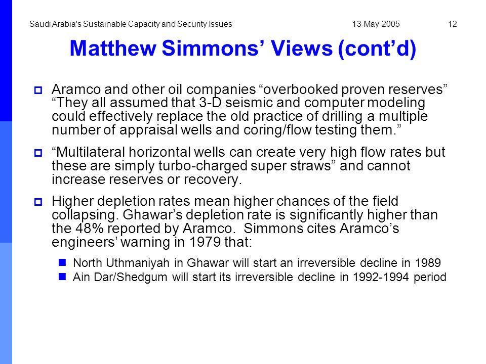 Matthew Simmons' Views (cont'd)