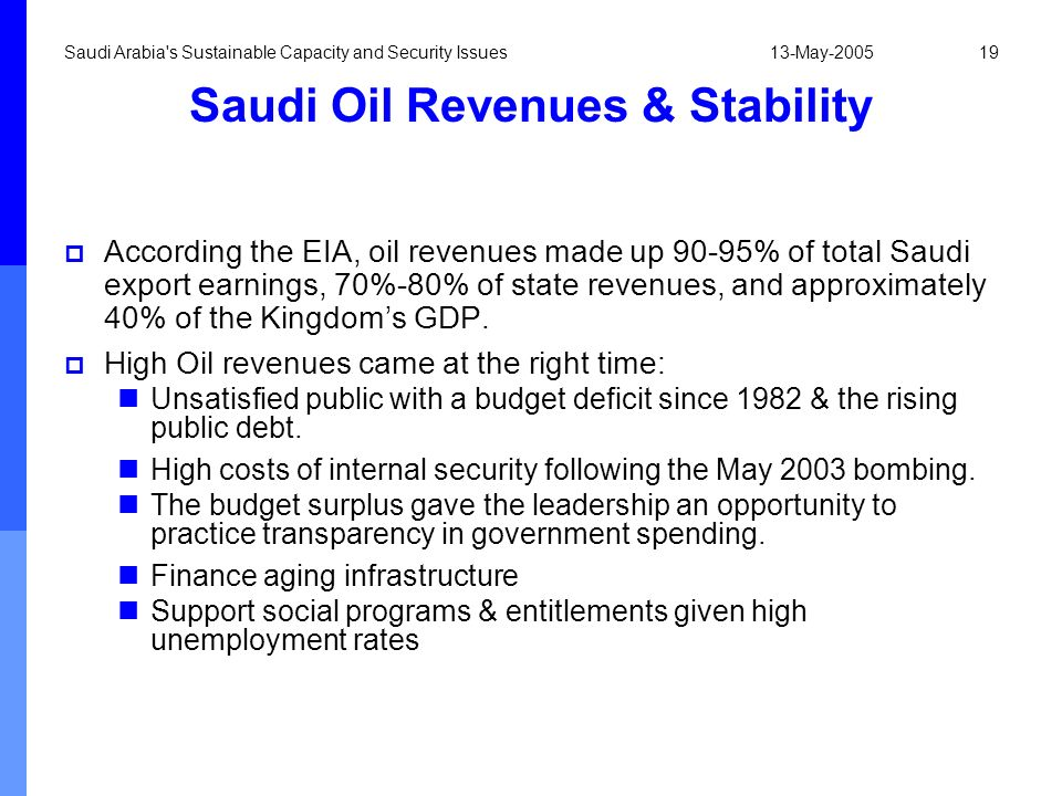 Saudi Oil Revenues & Stability
