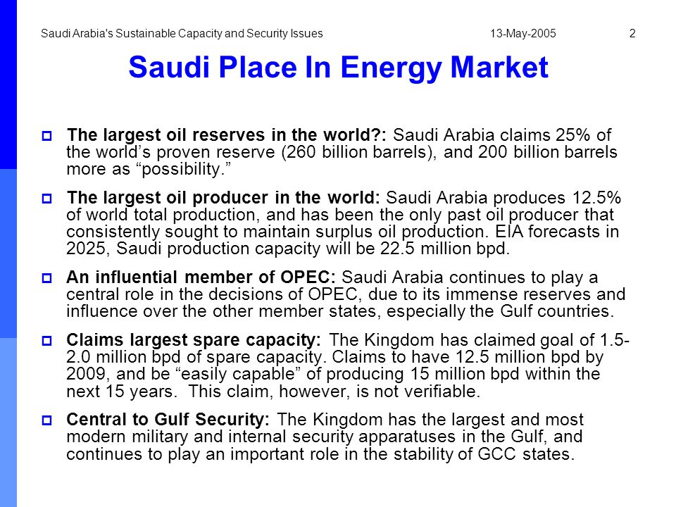 Saudi Place In Energy Market