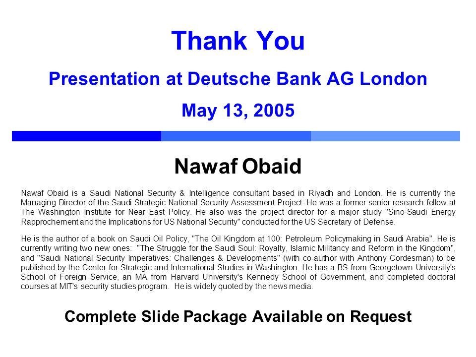 Thank You Presentation at Deutsche Bank AG London May 13, 2005