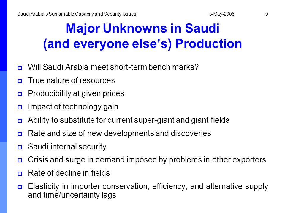Major Unknowns in Saudi (and everyone else's) Production