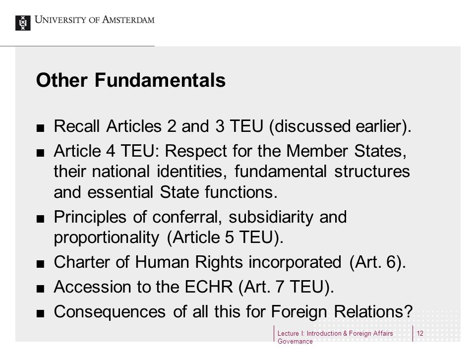 Other Fundamentals Recall Articles 2 and 3 TEU (discussed earlier).