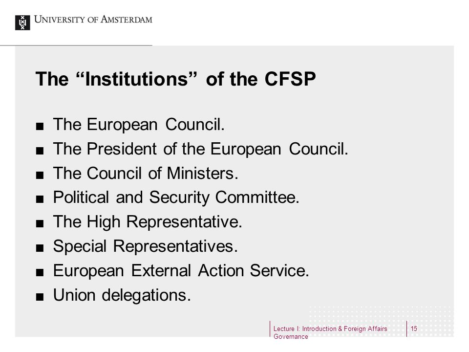 The Institutions of the CFSP