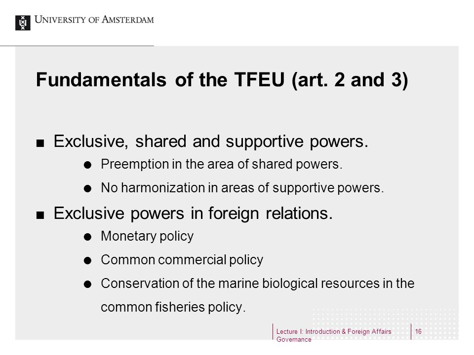 Fundamentals of the TFEU (art. 2 and 3)