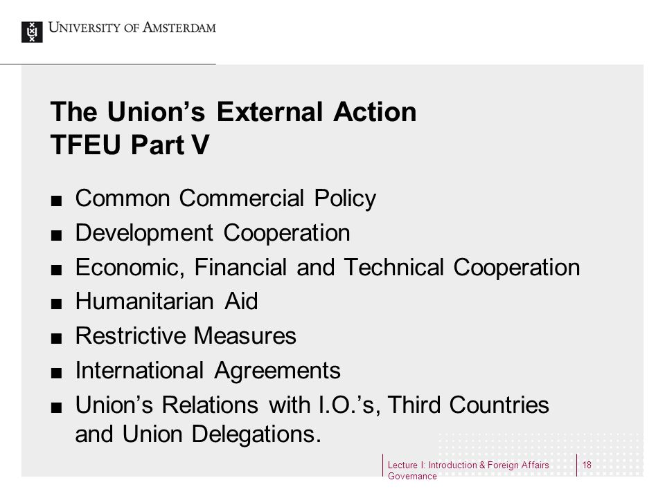 The Union's External Action TFEU Part V