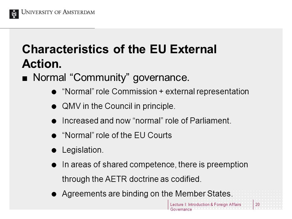 Characteristics of the EU External Action.